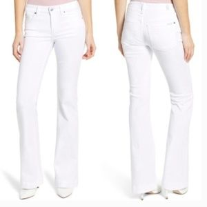 7 For All Mankind Dojo Wide-Leg Flare White Jeans